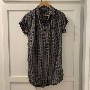 Madewell Dresses - Madewell Plaid Flannel Shirt Dress Black/White